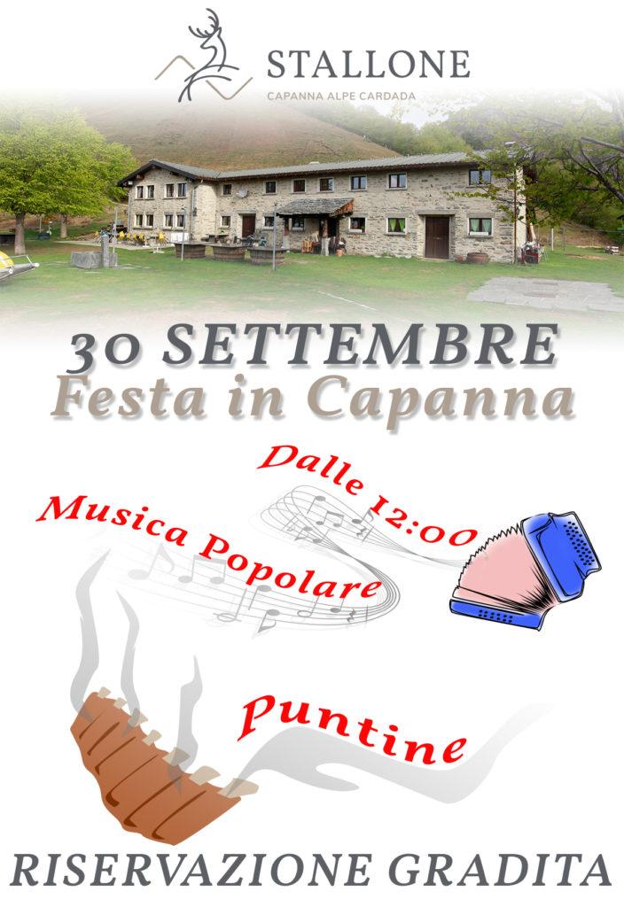 Domenica 30 Settembre festa in Capanna dalle 12:00!
